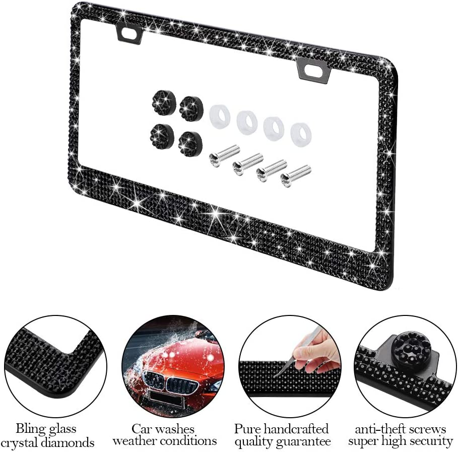 Otostar Handmade Finest 14 Facets SS20 Crystal Diamond Stainless Steel License Plate Frame 2 Pack Silver 6 Rows 4 Holes