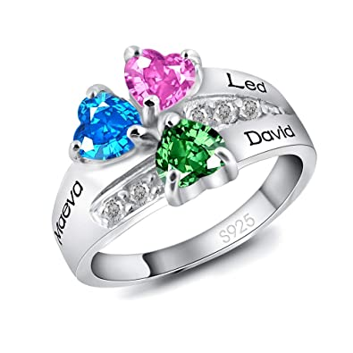 22d40a0be0 Amazon.com: mengfei Custom Name Ring with Heart Birthstone for Her with  Personalized 3 Heart Stones 3 Names Sterling Silver 925 / Gold/Rose Gold:  Jewelry