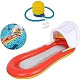 浮き輪 大人用 ポータブルなプールマット 背もたれ付き 日焼け止めカバー付き 幅160cm×奥行き84cm 浮き輪 0.8kg 耐荷重200kg 丈夫なメッシュ保護 厚さ0.35mm 「最新改良」うきわ 浮き輪ベッド プールフロート ウォーターハンモック インフレータブル アウトドア・キャンプ・海・プール 水泳用品 夏休み 暑さ対策 水遊びに大活躍 130*73cm 空気ポンプ付き(レッド)