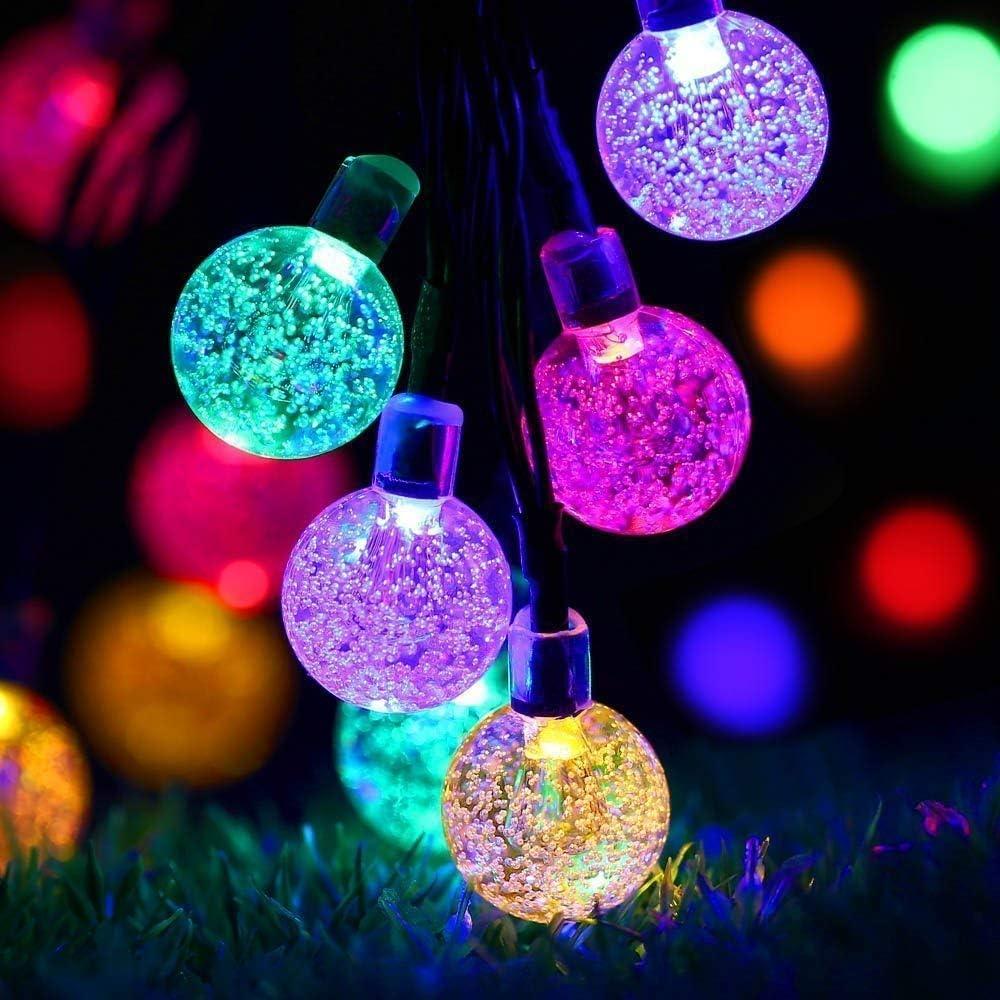 Solar Garden Lights Outdoor Waterproof, 50LED Globe Fairy Lights , 8 Mode 7M/24Ft Indoor/Outdoor Solar String Lights for Garden Patio Yard Home Christmas Parties Wedding (Multi-Colored)