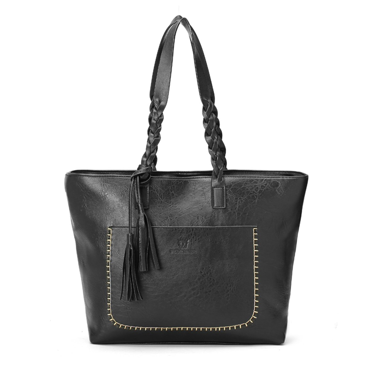 Aequeen Women Vintage PU Leather Tote Shoulder Bag Handbag Big Large Capacity Black Medium