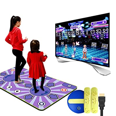 JFGUOYA Wireless Double Dance Mat,wear Resistant Foldable Dance Pad Children Dance Revolution Musical Mat HD TV Computer Dual-use Operating,164x93CM - A for Kids: Sports & Outdoors