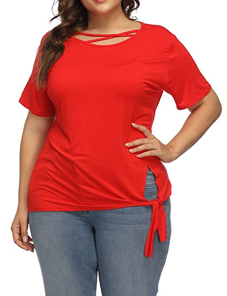 Amazon.com  Allegrace Women Plus Size Summer Criss Cross Tops Short Sleeve  Side Selftie T Shirts Red 1X  Clothing 4d9a8e7cd5