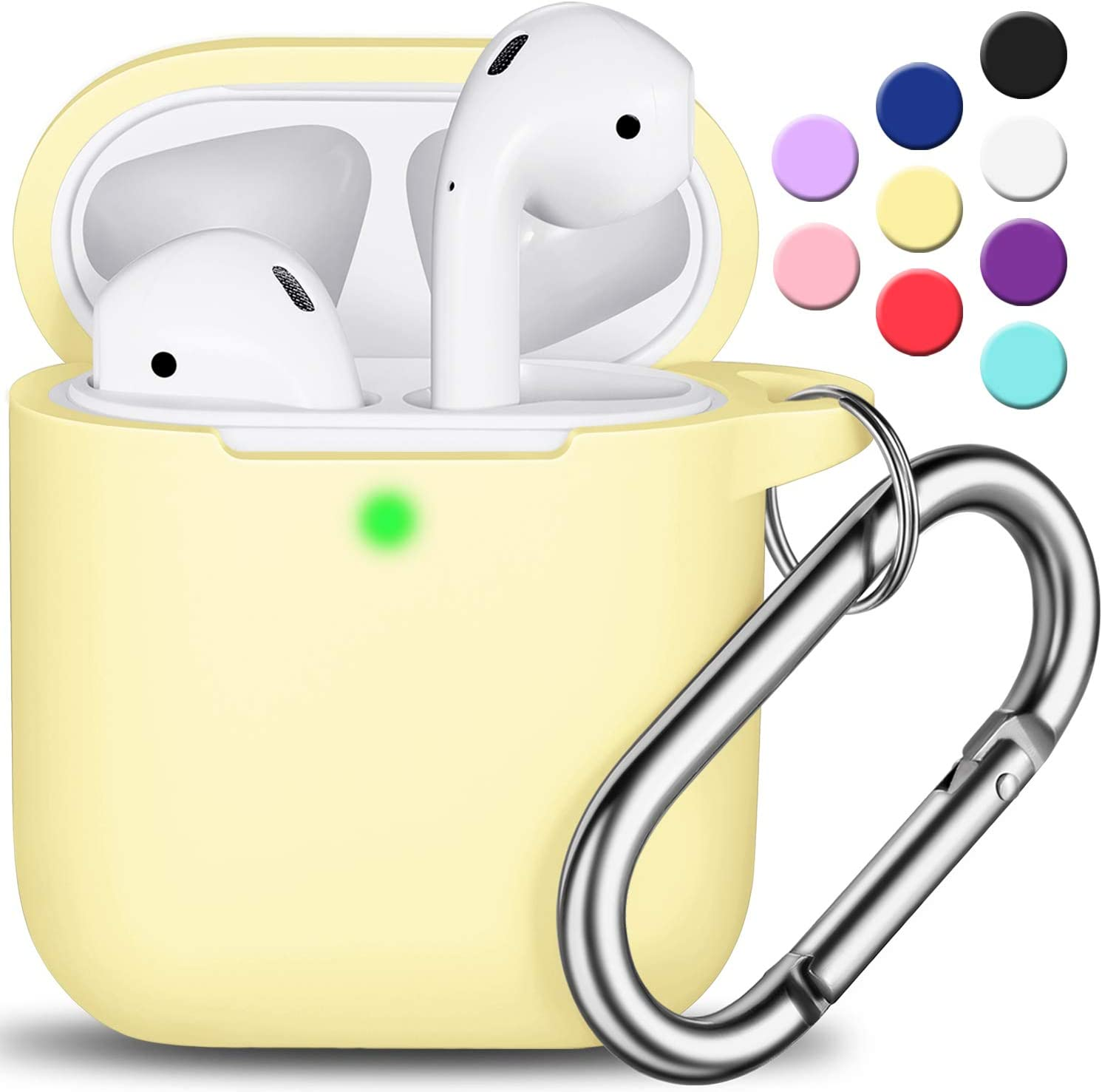 AirPods Case Cover with Keychain, Full Protective Silicone AirPods Accessories Skin Cover for Women Girl with Apple AirPods Wireless Charging Case,Front LED Visible-Cream Yellow