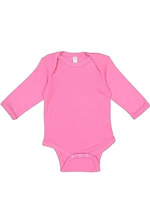 e1b058083e61b Rabbit Skins Infant 100% Cotton Lap Shoulder Long Sleeve Bodysuit  (Raspberry, Newborn)