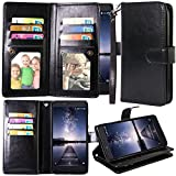 ZTE Zmax Pro Case, ZTE Carry Case, Harryshell 12 Card Slot PU Leather Wallet Flip Case Cover with Wrist Strap for ZTE Blade X Max Z983 /Grand X Max 2/Max Duo/Imperial Max Z963U/Kirk Z988 (Black)