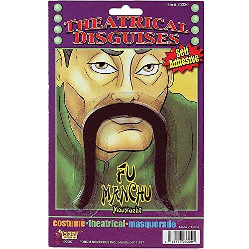 [Fu Manchu Moustache Human Hair Brown] (Fu Manchu Costumes)