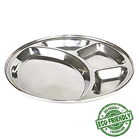 9f216dd53100 Amazon.com: IndiaBigShop Stainless Steel Round Shape Thali Plate, 4 ...