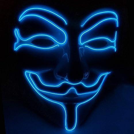 para Halloween Disfraz Cosplay Fiesta LED Máscara V Vendetta ...