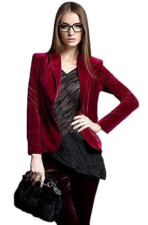 5bb0a7d469b Costume Femme Mode Velours Veste De Costume Printemps Automne Uni Manche  Doux Confortables Jacket Manches Longues