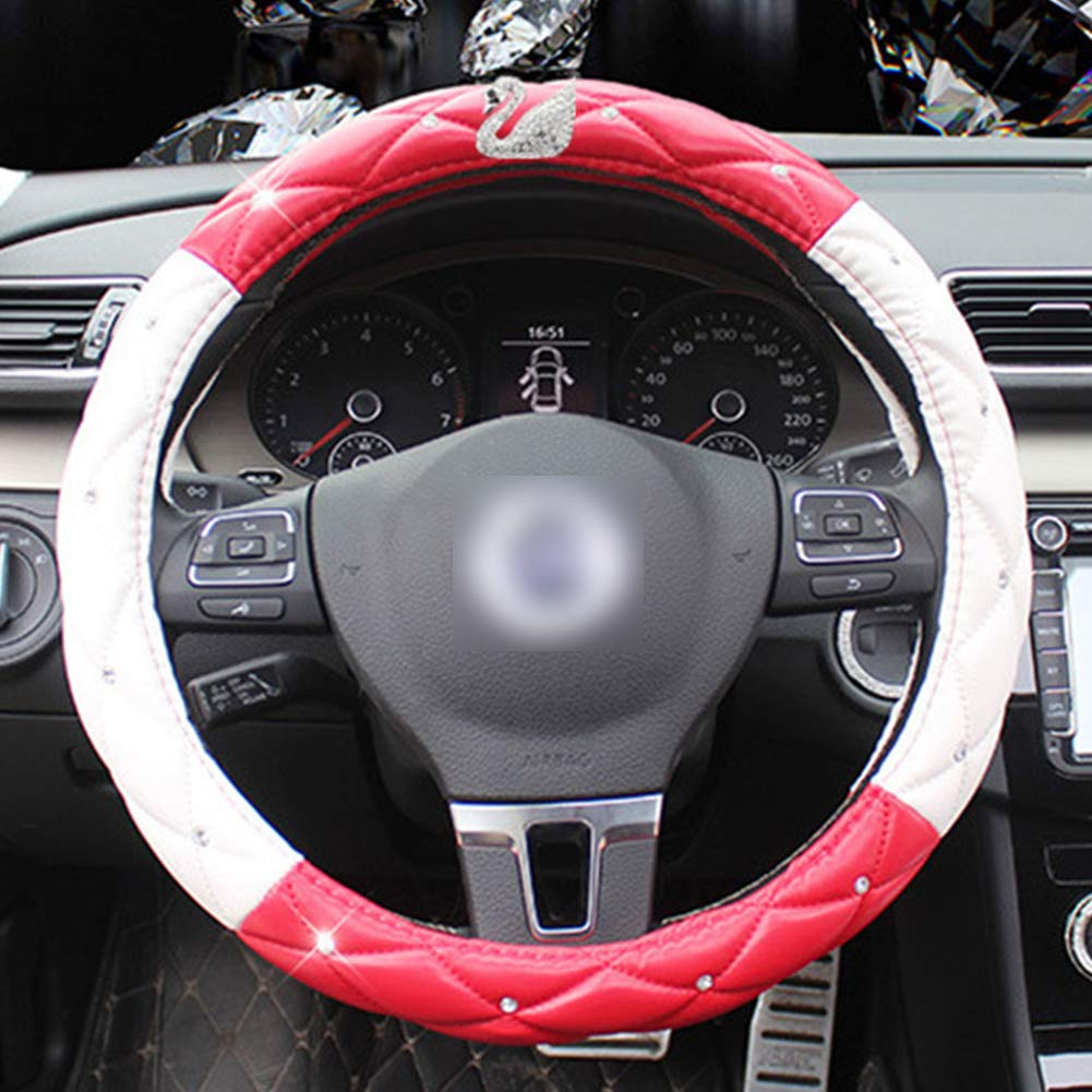 Crystal Elegant Car Series Universal 15 inch For Girls Ladies Queen-Black Rose Red Evevik Fashion Swan Auto Steering Wheel Cover For Women Exquisite Lattice Design,Bling Diamond Soft Leather Stylish