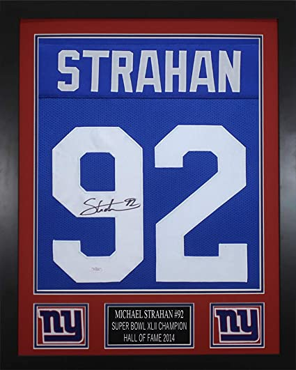 huge selection of db166 a19ab Michael Strahan Autographed Blue Giants Jersey - Beautifully ...