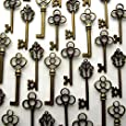 Aokbean Mixed Set of 30 Vintage Skeleton Keys in Antique Bronze - Set of 30 Keys