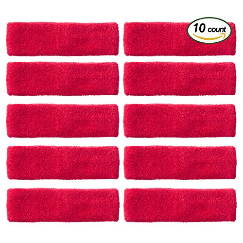 OnePlus Athletic Headbands, Durable Head Sweatbands for Basketball, Tennis, Running, Yoga, Fitness and More (10 Pack) (Hot - Face Rims Big