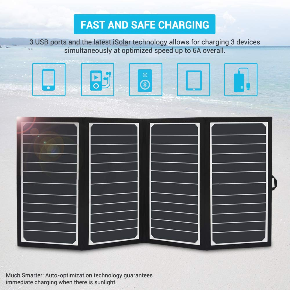 Nexus Galaxy Pixel Renogy E.Flex 30W Portable Folding 3-USB Outdoor Charger with 4 Solar Panels and Water-Resistant Canvas for iPhone Xs//Xr//8 iPad Foldable Black