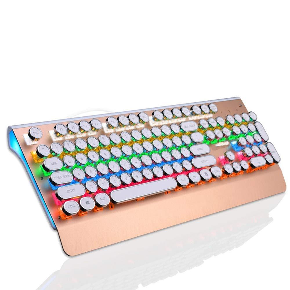 DADUIZHANG Profession Game Mechanical Gaming Machine Keyboard Green Axis Blue Switch Classic Retro Style Typewriter Telegraph Round Metal Key Cap 104 Button, Gold by DADUIZHANG
