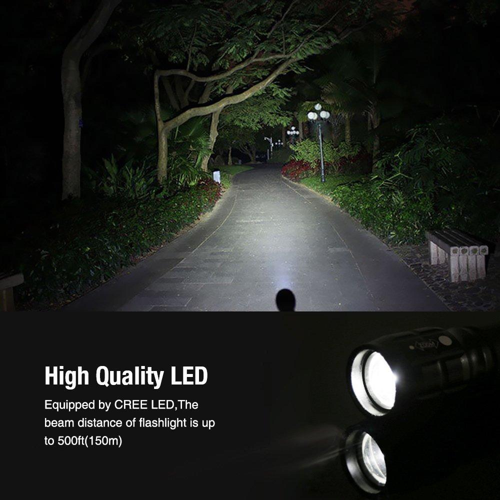 LE Zoombar Superhelle CREE LED Taschenlampe, inklusive 3 AAA Batterie, LED Handlampe, LED Camping Handlampe, Mit einstellbarem Fokus Lighting EVER 1200012
