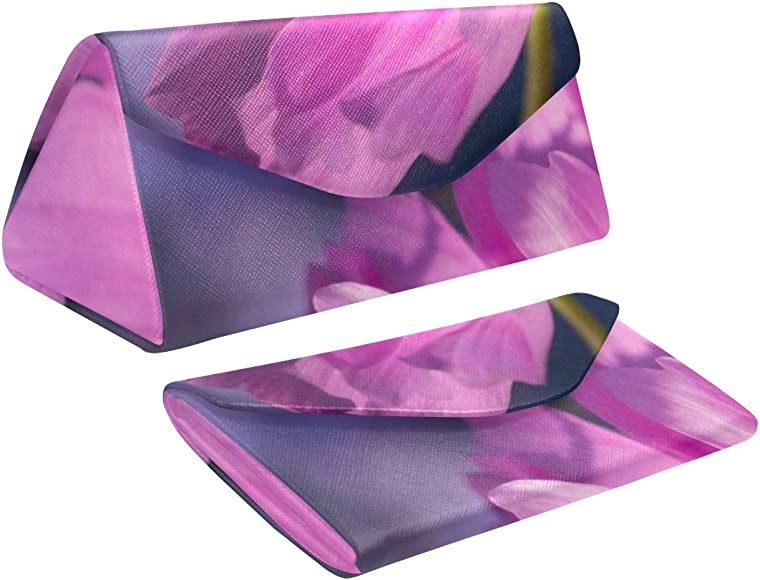 Estuche de gafas duras plegables Flor grande Rosa púrpura Primer plano Flor rosa Planta Triángulo Estuches de vidrio para anteojos Cuero de pu con cierre magnético Estuche para gafas de sol para