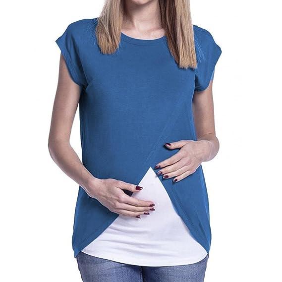 e5266b470 Logobeing Ropa Premamá Camisetas Abrigo de Lactancia de Maternidad para  Mujeres Doble Capa Blusa Camiseta (