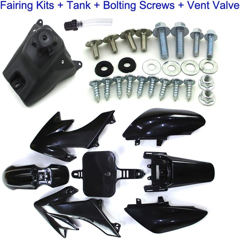 Complete Mounting Screws Bolts Kits Vent Valve Breather For Honda Dirt XR50 CRF50 Chinese 50cc-160cc Pit Bike SSR Lifan BSE Kayo YCF Fuel Tank TC-Motor Black Plastic Fender Fairing Kit