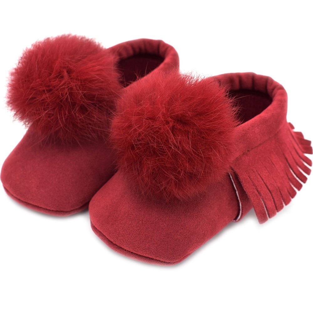 NANAMI Baby Soft Suede Soled Leather Moccasins Tassel Slip-on Infant Toddler Rabbit Hair Ball Shoes