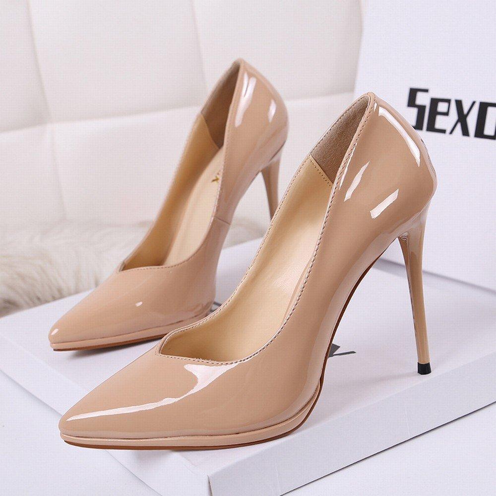 CXY Westliche Spitze Schuhe Lackleder Wasserdichte Plattform mit High High High Heels Flachen Mund Sätze von Einzelnen Schuhe Weiblich Schwarz Aprikose 39 1fbe7a
