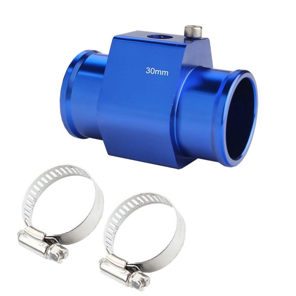 JUDING Aluminum Blue Water Temp Meter Temperature Gauge Joint Pipe Radiator Sensor Adaptor Clamps 36mm