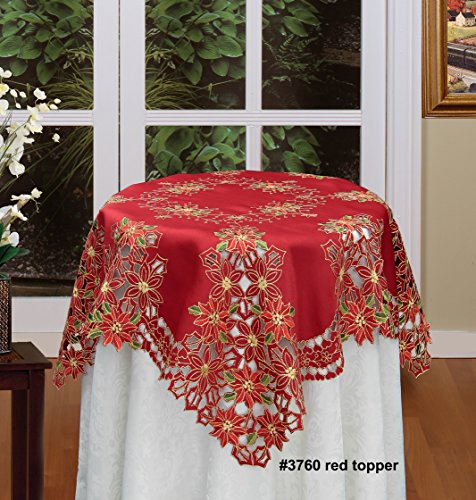 (Creative Linens Holiday Christmas Embroidered Poinsettia Tablecloth Topper 34