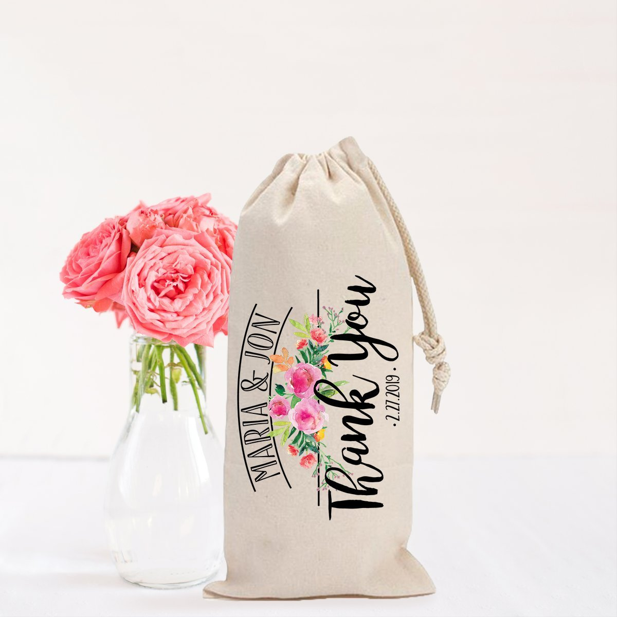 Wine Bag Wedding Favor Personalized Gift for Parents or Bridal Party Floral Wedding Gift Names /& Wedding Date