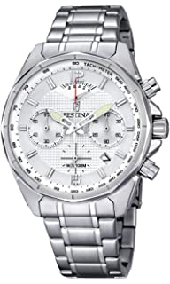Festina F6835/1 Mens Watch Chronograph Silver Dial Stainless Steel Luminous Hand