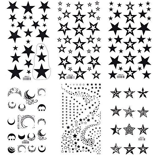 King Horse Black Stars and Moons Temporary Tattoos 6 Sheets (Moon Tattoos Star)