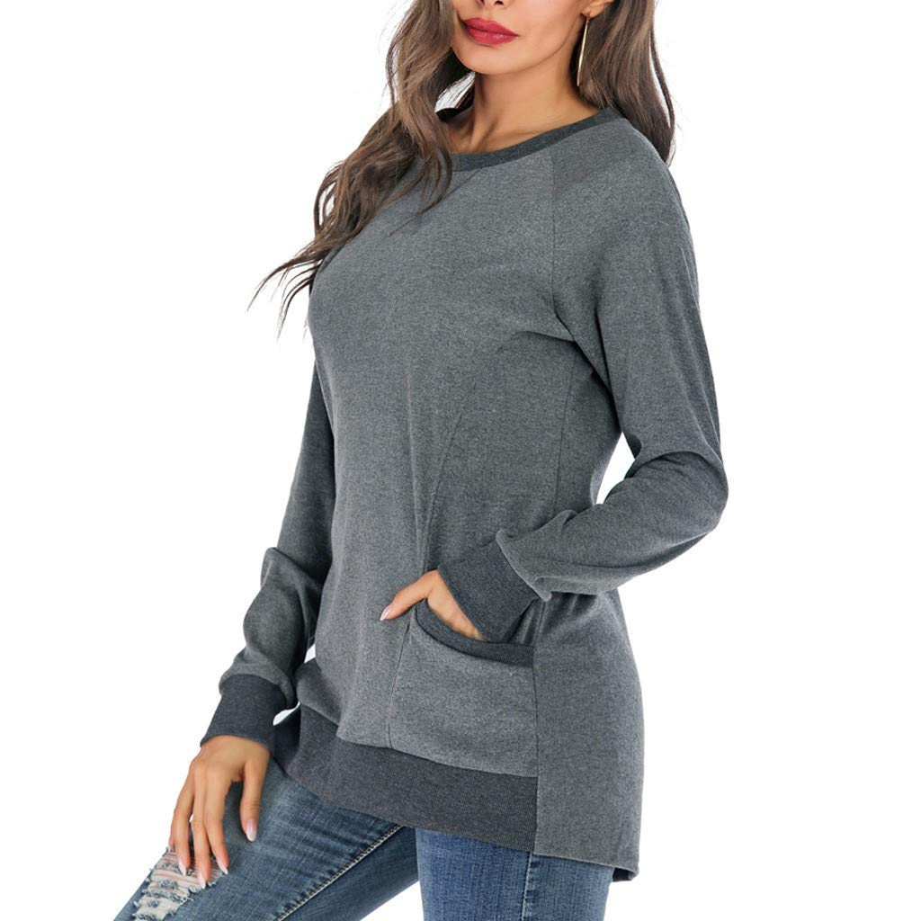 Women Pullover Sweatshirts with Pockets Round Neck Cotton Comfortable Long Sleeve Plus Size Solid Color Casual Loose Blouse T Shirt
