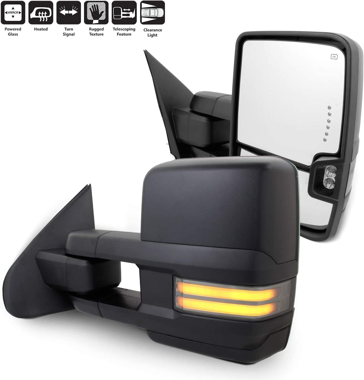 Turn Signals Puddle Lights Heated Powered Glass Paragon Telescopic Towing Mirrors for 2015-19 Ford F150 Black Pair Set