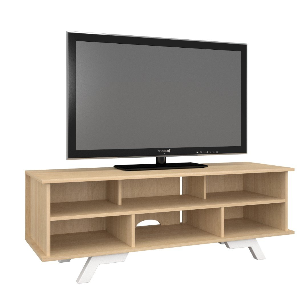 White Oak Tv Unit Part - 39: Amazon.com: Nexera 104339 Stiletto TV Stand, 54-inch, Natural Maple U0026 White:  Kitchen U0026 Dining