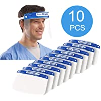 10PCS Reusable Safety Face Shield, Adjustable Transparent Full Face Protective Visor with Eye & Head Protection, with Protective Clear Film Elastic Band And Comfort Sponge