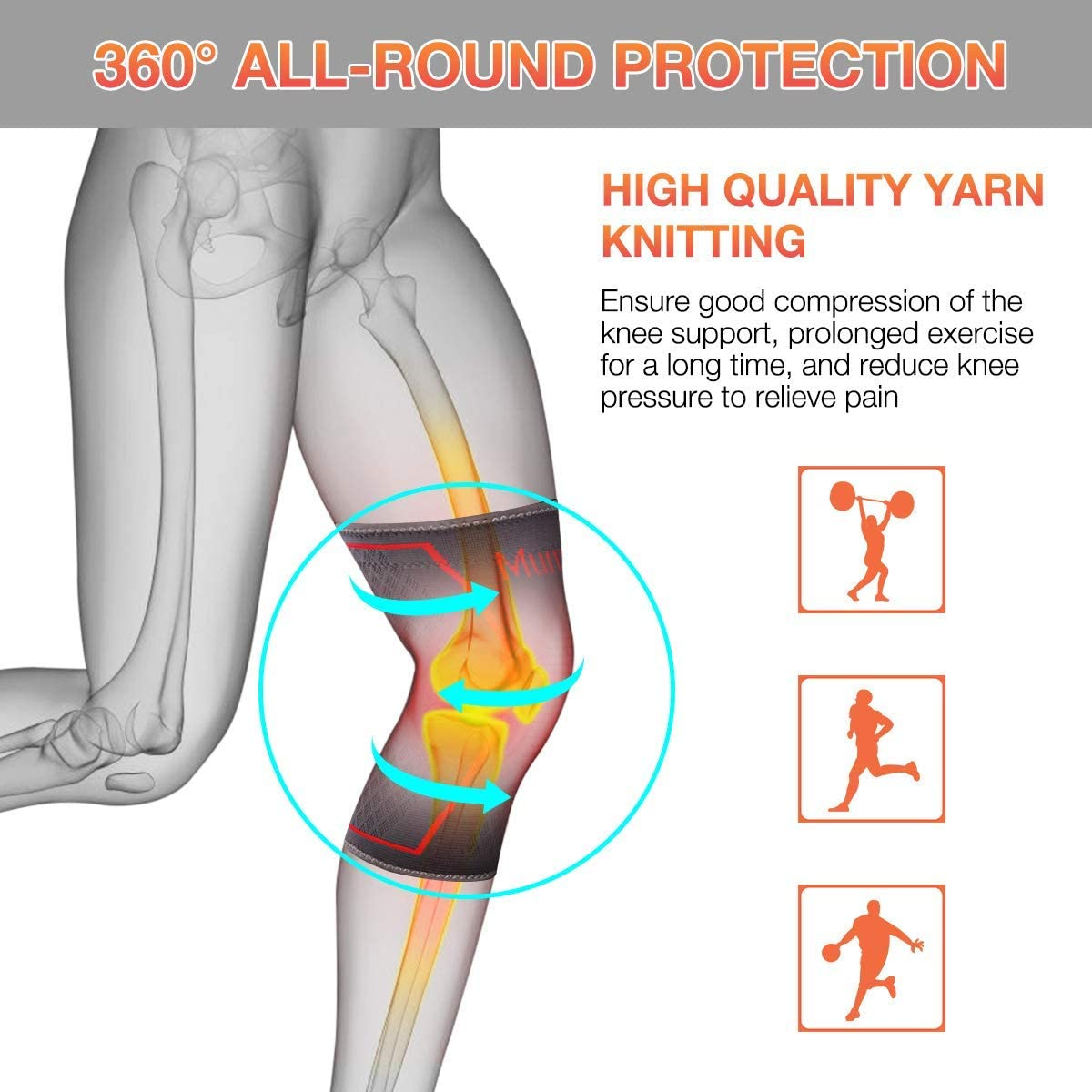 Bodybuilding Weight Lifting,Jogging,Riding and Climbing-Walking /& Injury Recovery Knitted Knee Brace SGODDE Athletics Knee Sleeves Compression Protective Sleeve for Powerlifting