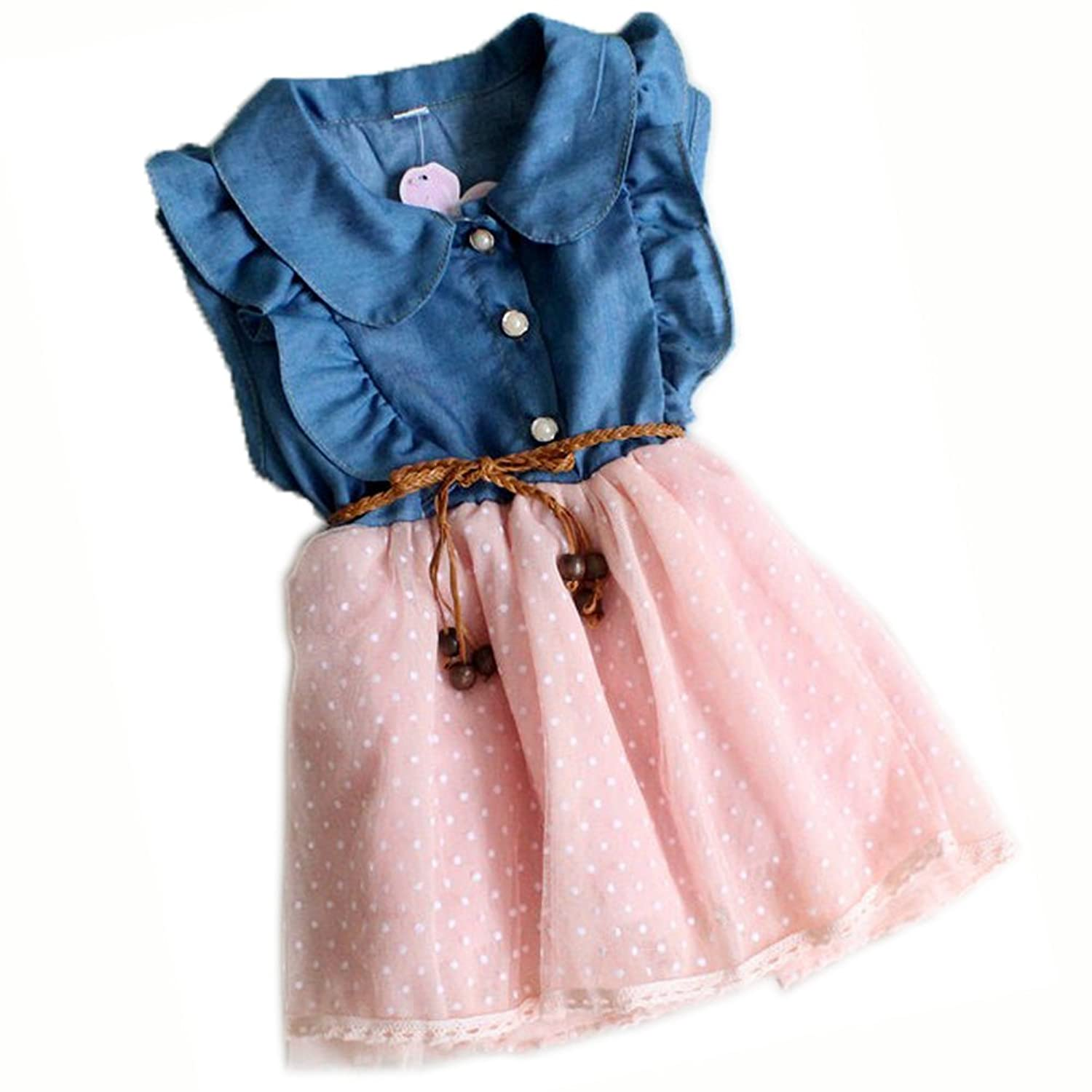 Amazon Baby Girl Tutu Denim Dress Short Sleeve Lace Princess
