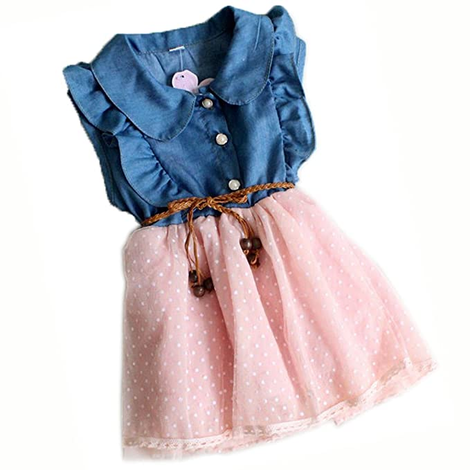 Amazon.com Baby Girls Child Princess Party Dress Clothes Kid Summer Denim  Jeans Dress Skirt Clothing