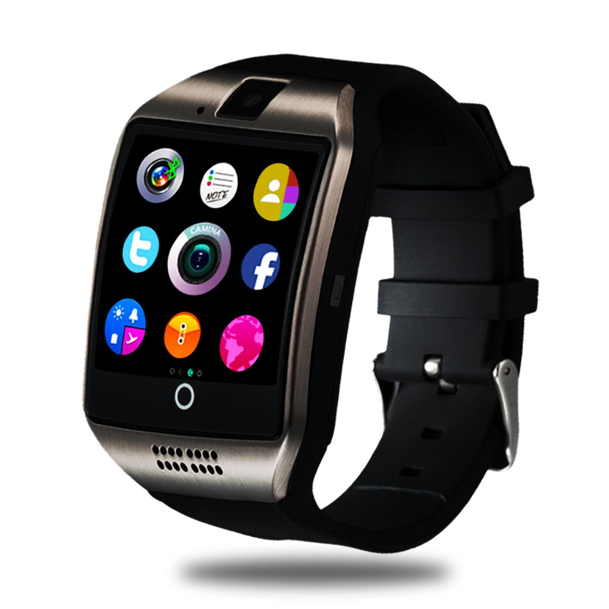 Smart Watch for Android Phones, Bluetooth Smartwatch Touchscreen with Camera, Smart Watches Waterproof Smart Wrist Watch Phone compatible Android Samsung IOS iphone X 8 7 6 6S 5 (Black Q18) by Luckymore (Image #1)