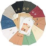 レターセット 封筒 20枚 便箋 32枚 シール26枚付き シンプル アンティーク 大量 たくさん (封筒10色20枚 便箋2色32枚) (封筒20枚 便箋32枚)