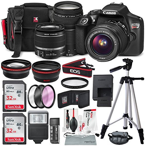 Canon EOS Rebel T6 DSLR Camera with EF-S 18-55mm f/3.5-5.6 is II Lens, EF 75-300mm f/4-5.6 III Lens, 64GB, Along with Fibertique Cleaning Cloth, and Xpix Cleaning Kit and Deluxe Accessory Bundle ()