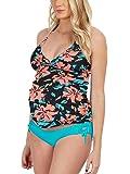 Halter Maternity Tankini Floral Pregnancy Swimsuit