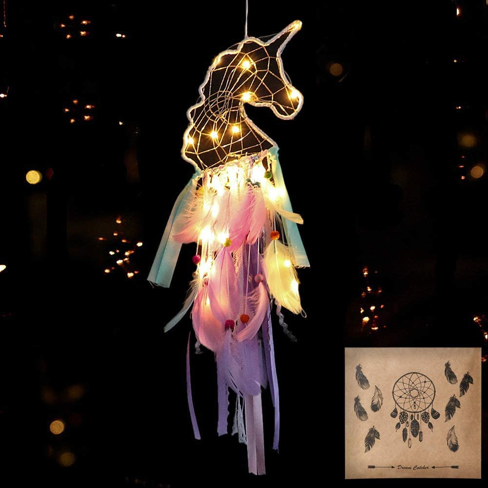 Dremisland Light Up Unicorn Dream Catcher Room Decor Gift Purple Pink Green Feather Hanging for Unicorn Party Supplies Kid's Room Tent(Led Unicorn)