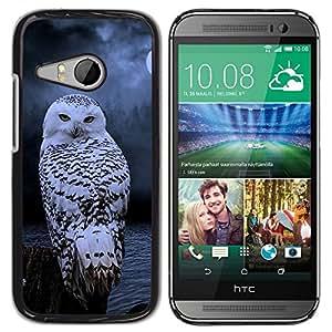 FlareStar Colour Printing Owl Snow Winter Night Mysterious Moon cáscara Funda Case Caso de plástico para HTC ONE MINI 2 / M8 MINI