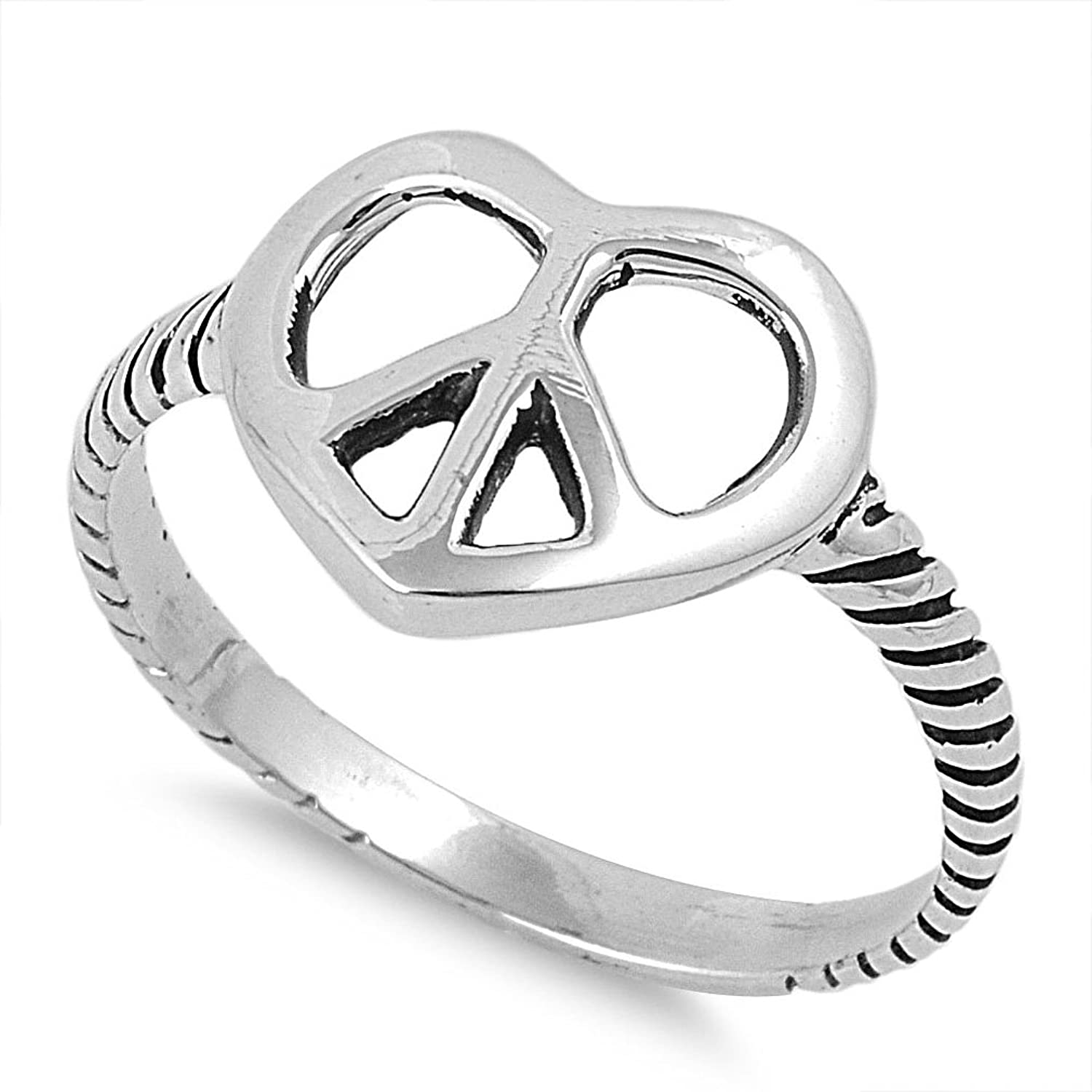 Amazon Sterling Silver Open Peace Sign Heart Ring Jewelry