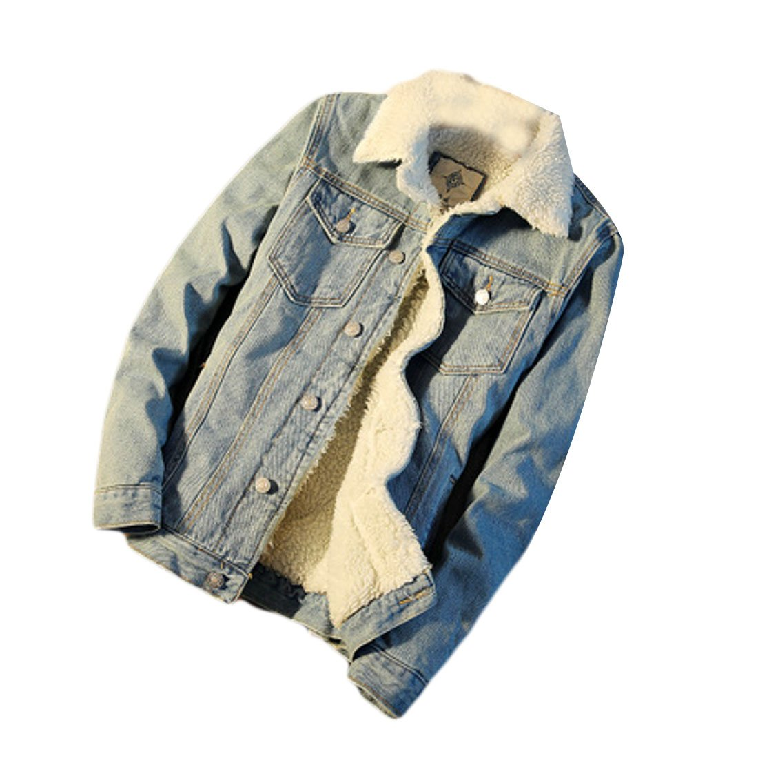 CRYYU-Men Lapel Faxu Lamb Wool Button Down Fleece Lined Windbreaker Denim Jacket