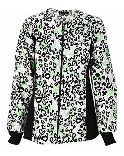 Cherokee Women's Zip Front Animal Print Scrub Jacket XX-Large (Animal Print Zip Jacket)