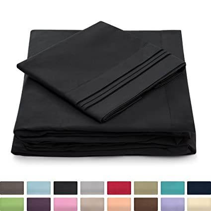 Urban Bed Split Cal King Bed Sheets   Black   HIGHEST QUALITY Brushed  Microfiber 1800 Bedding