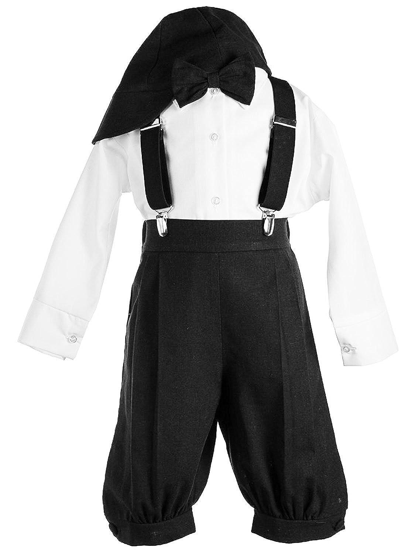 New Vintage Boys Clothing and Costumes Vintage Dress Suspender Suit Set Boys - Bowtie Suspenders Knickers Suit 5pcs Set $39.99 AT vintagedancer.com