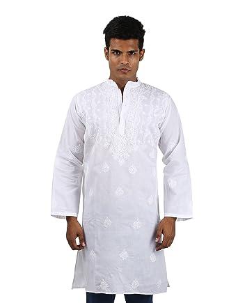 b9870cad02 Indian Designer Handmade Cotton Short Mens Kurta Casual Punjabi Traditional  Wear Clothing, White